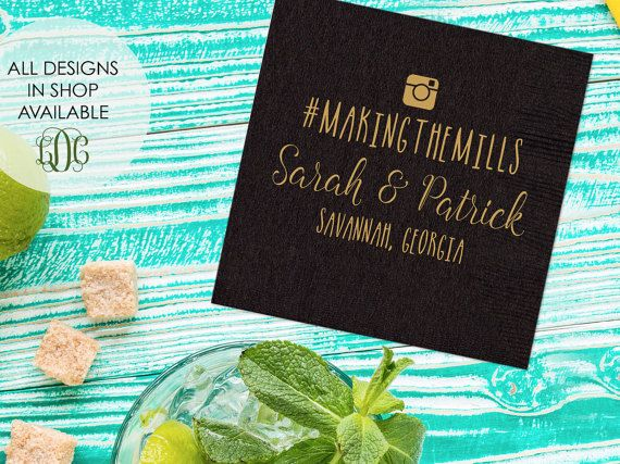 Personalized Wedding Napkins With Hashtag Set Of 100 Custom Instagram Reception Napkin