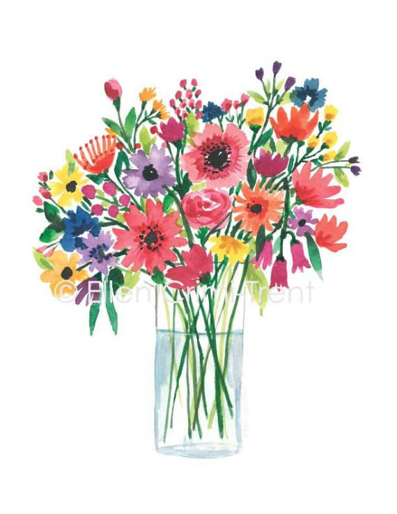 Watercolor Flowers In A Vase Watercolor Bouquet Floral Wall