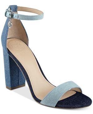 355ab569308 Guess Women s Bamboo Two-Piece Block-Heel Sandals - Blue 8.5M ...
