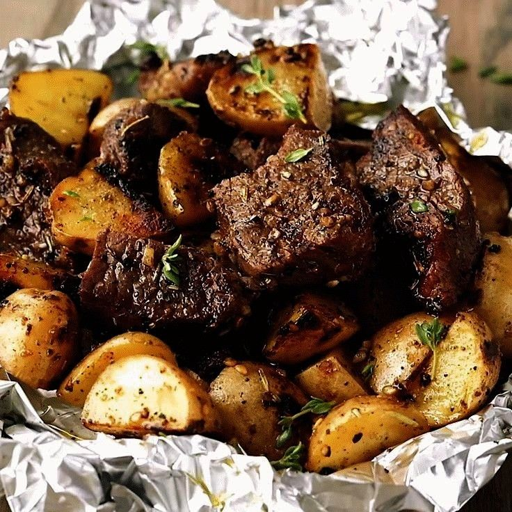 Herb Steak Bites with Potatoes are such a simple meal that is full of tender garlic herb melt in yo