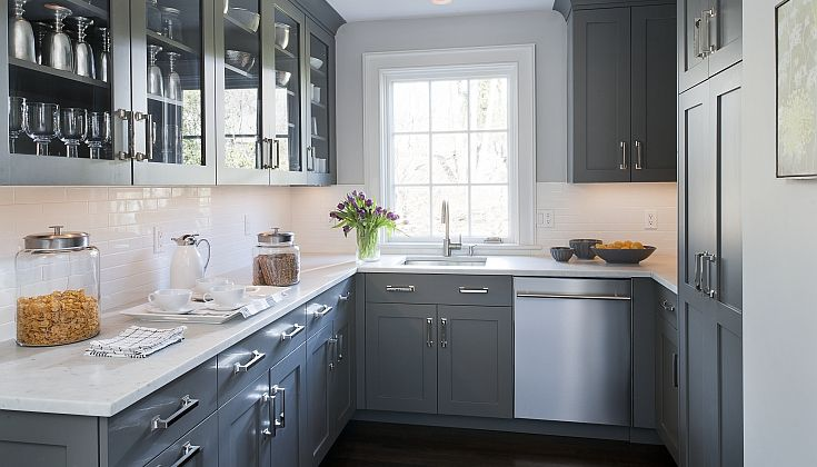 Kitchens By Deane Gray Kitchen Design With Gray Kitchen Cabinets Paired With White Marble