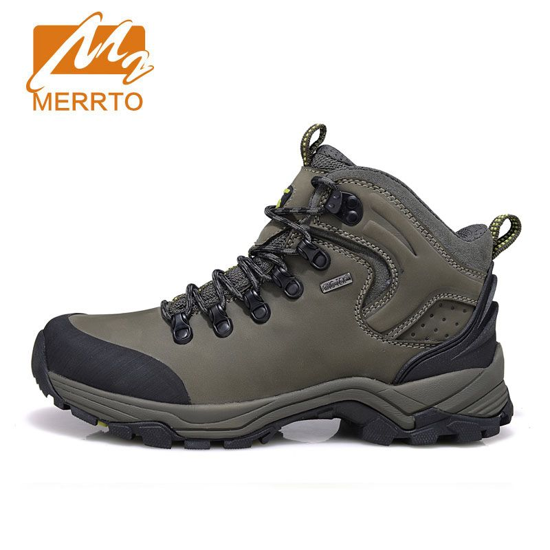 2017 MERRTO Winter Men's Warm Hiking Shoes High Quality Trekking Sport Genuine  Leather Outdoor Shoes Man