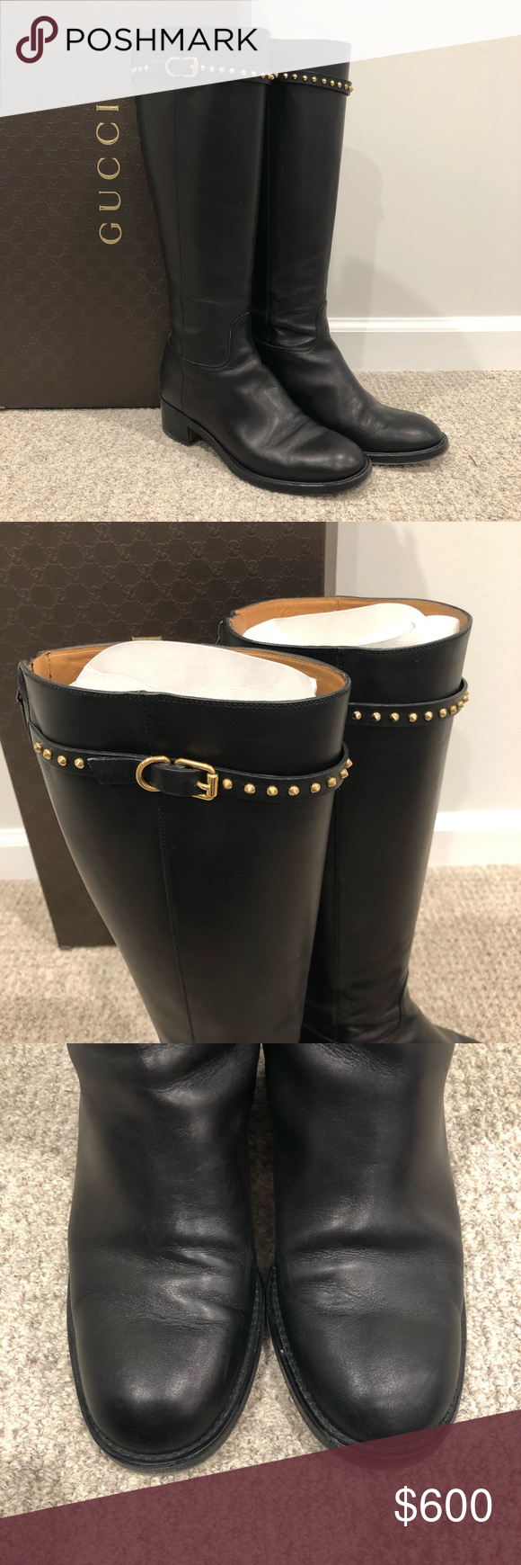8cba9b45e86 Gucci Cirano Lux Nero Black Studded Tall Boots 40 Great condition! Hardly  worn! Shows