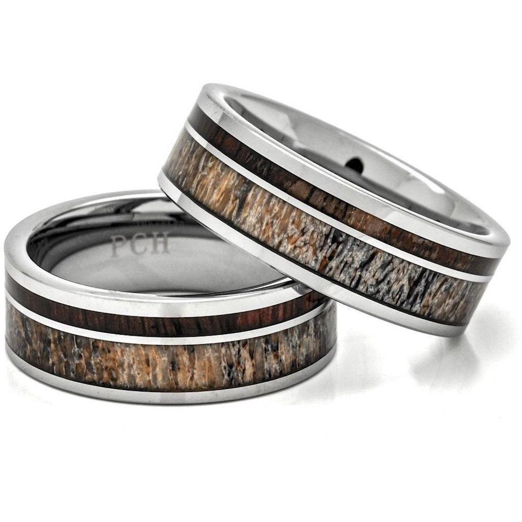 Deer antler ring tungsten carbide hawaiian koa wood 8mm