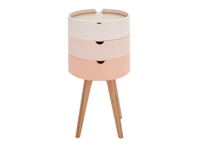 Cairn Runder Nachttisch Rosa Bedside Table Design Pink Bedside