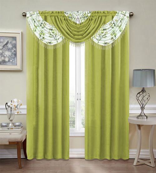Misaki Emerald Crepe 5 Piece Complete Curtain Set Green Blooming