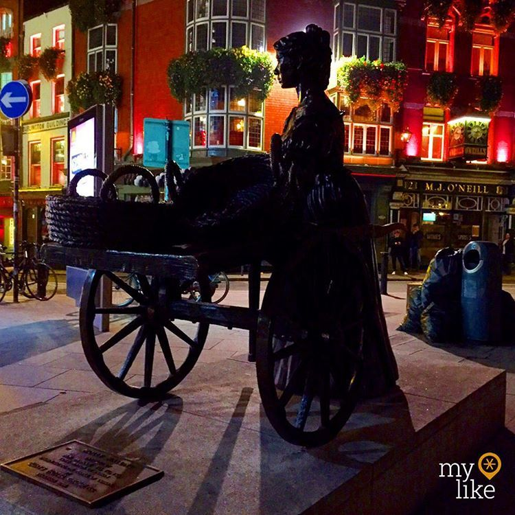 """""""The famous #MollyMalone statue, one of the most iconic landmarks in #Dublin.  Just down #SuffolkStreet you'll find the M.J. O'Neill's #pub with one of the…"""""""