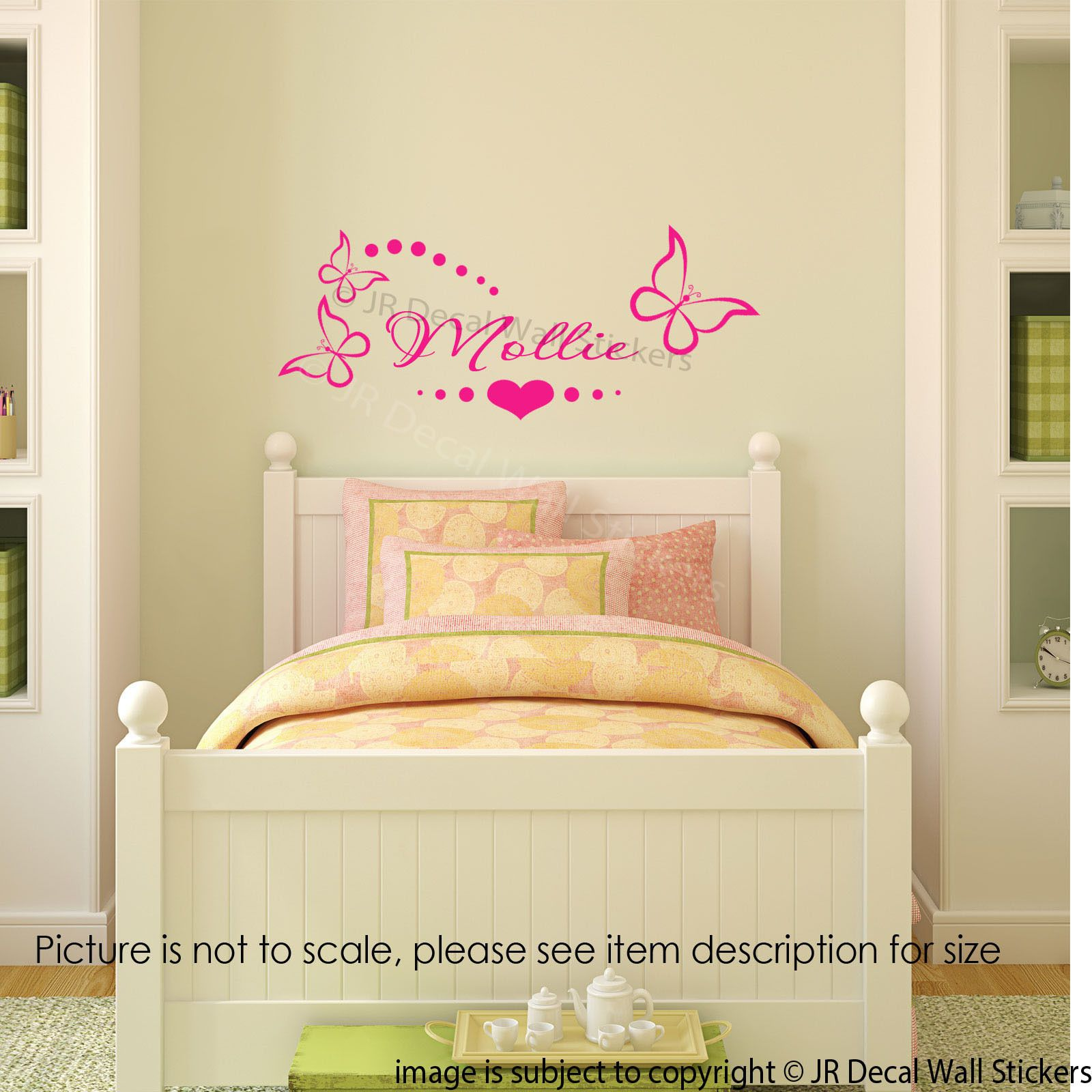 Butterfly Polka dots Wall art Stickers Personalized Name Nursery ...