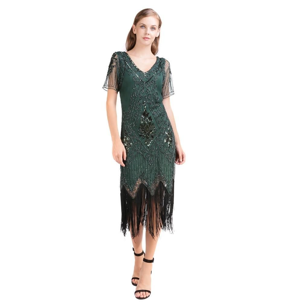 1920's Flapper Dress With Sequin & Fringe Mid calf dress with ...