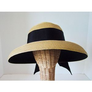 074b37761ef0d Italian Enamel Bit Accent Luxurious Toyo Lampshade Straw Hat with Wide Black  Ribbon