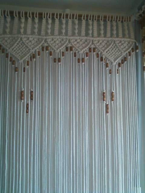 Bead Fringed Door Curtain Macrame For a Door With Tie-Backs   Granos ...
