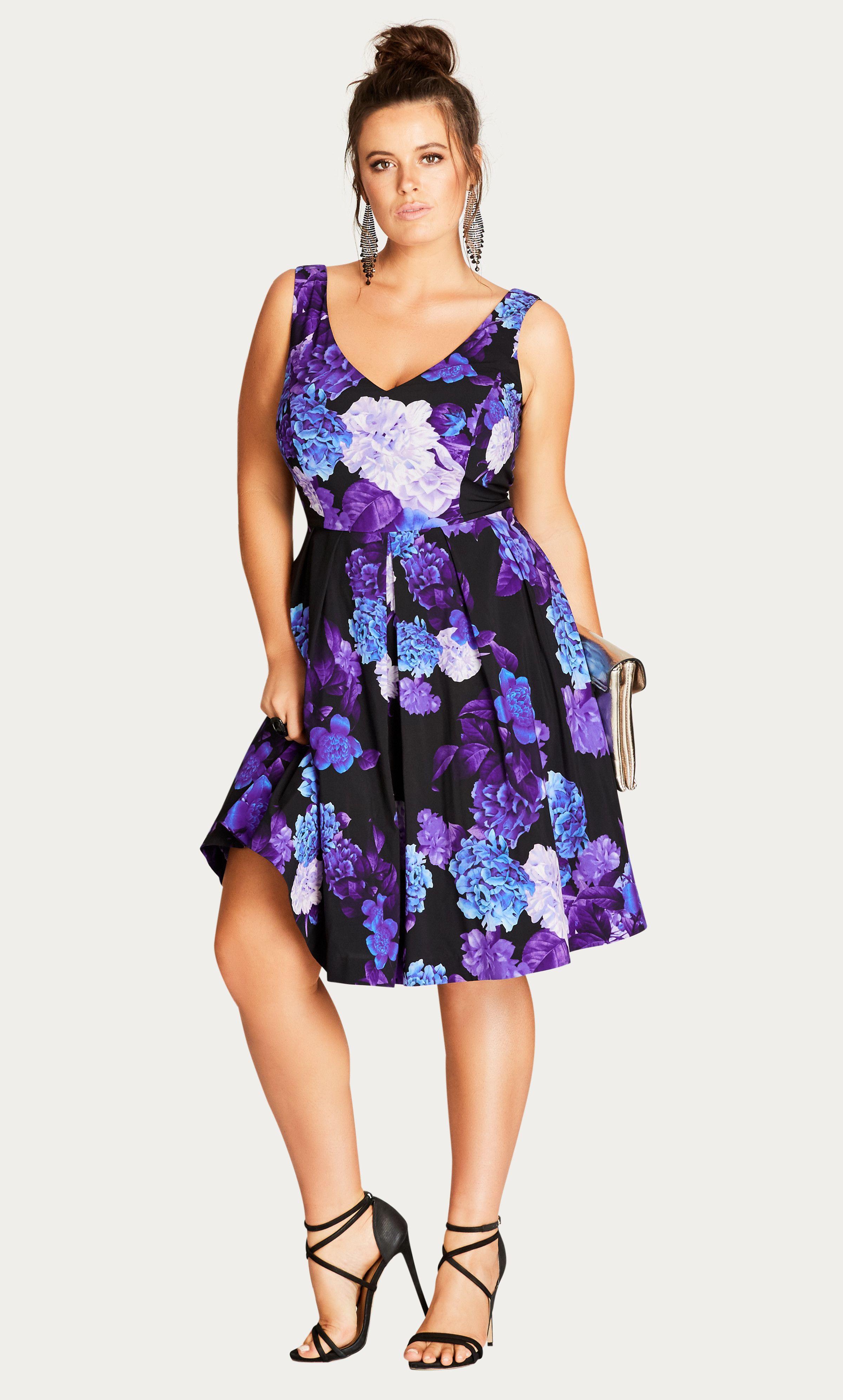 Hydrangea Printed Fit & Flare Dress | Pinterest