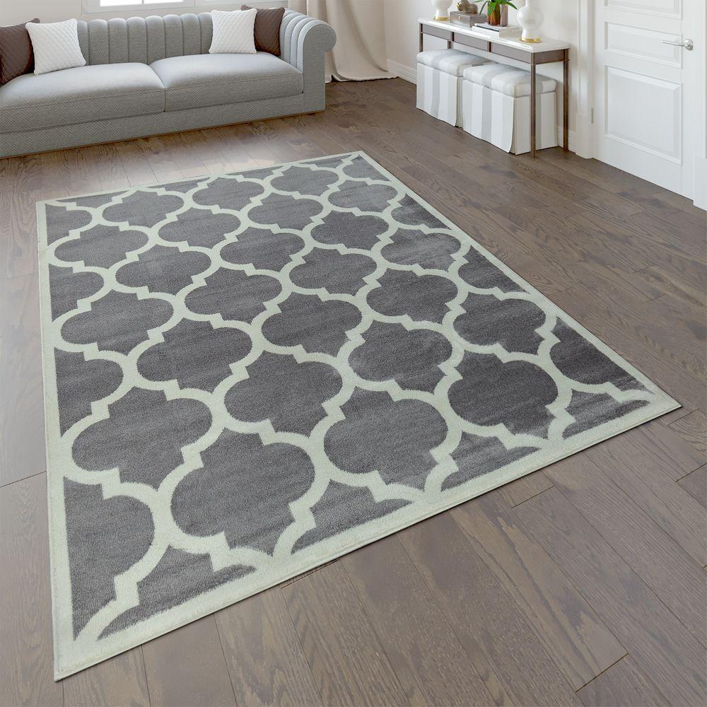 Designer Teppich Marokkanisches Muster Kurzflorteppich Modern Trend Grau Weiss Teppiche Orient Optik In 2020 Area Rugs Rugs Cream Area Rug