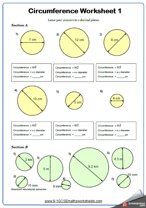 Circumference Maths Worksheet And Answers 9 1 Gcse Higher Grade 3