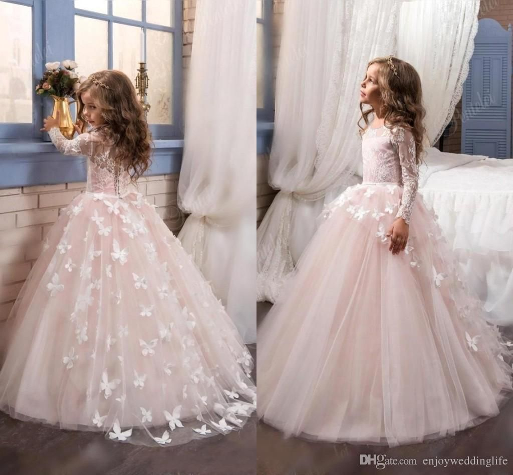 cheap lace long sleeves pink flower girls dresses for weddings