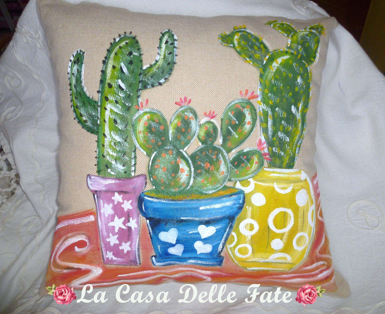 Hand Painted Cactus Garden Cushion Cactus Pillow Pillow Cover Country Home Decor Cactus Decorations Rustic Pillow Rustic Pillows Pillow Covers Cactus Pillow