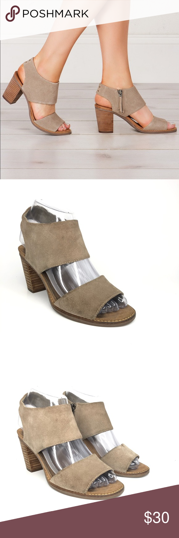 TOMS Majorca Cutout Suede Sandal Heel Desert Taupe Every warm weather outfit nee…