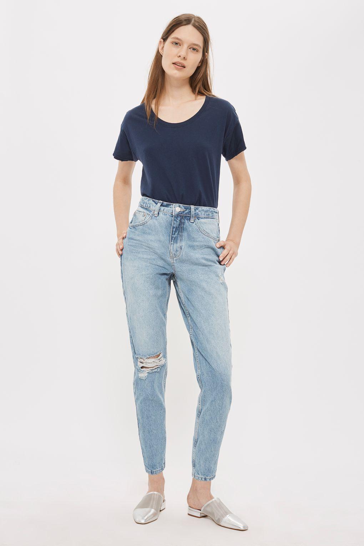 fee79dac1 PETITE Rip Mom Jeans | TOPSHOP | Ripped mom jeans, Petite mom jeans ...
