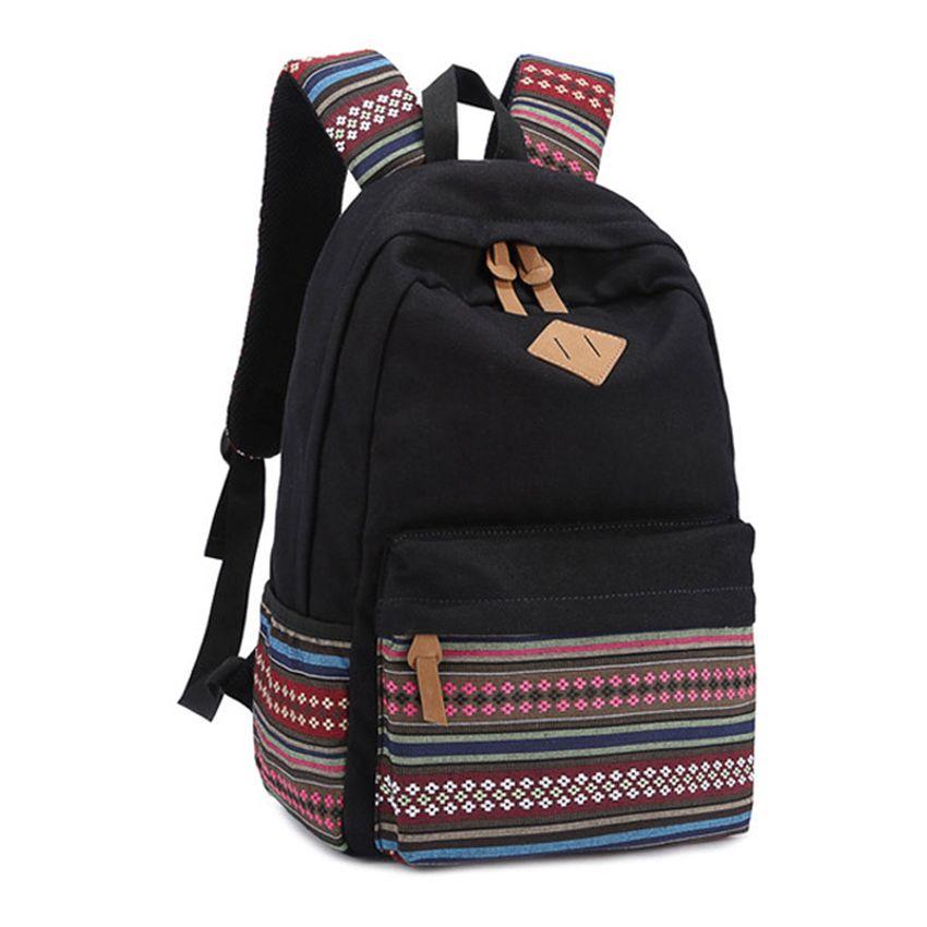 correct volume Unisex Canvas School Backpack (Black) (Intl ...
