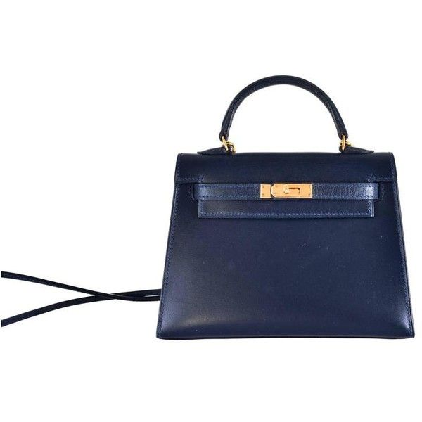 Preowned Hermes Kelly Sellier 15 Cm Super Rare Blue Indigo Gold... ($17,800) ❤ liked on Polyvore featuring blue