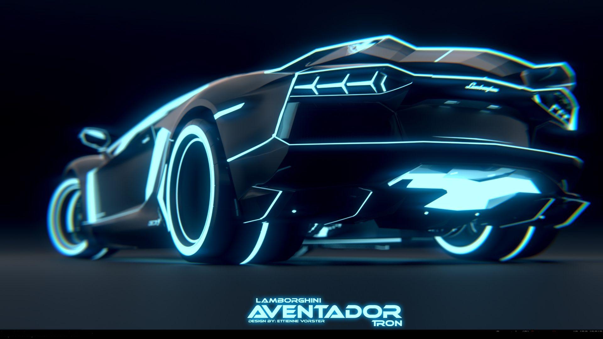 Dark Blue Tron Style Aventador Tron