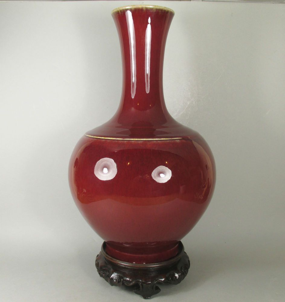 Exceptional 19thc Chinese Langyao Hare S Fur Red Flambe Glazed Vase Vase Glaze Pottery