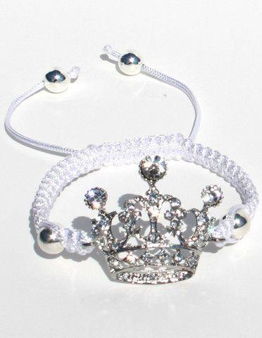 Adjustable Crown Macrame Bracelet.  Fits girls 4 years & up. Shayzee.com