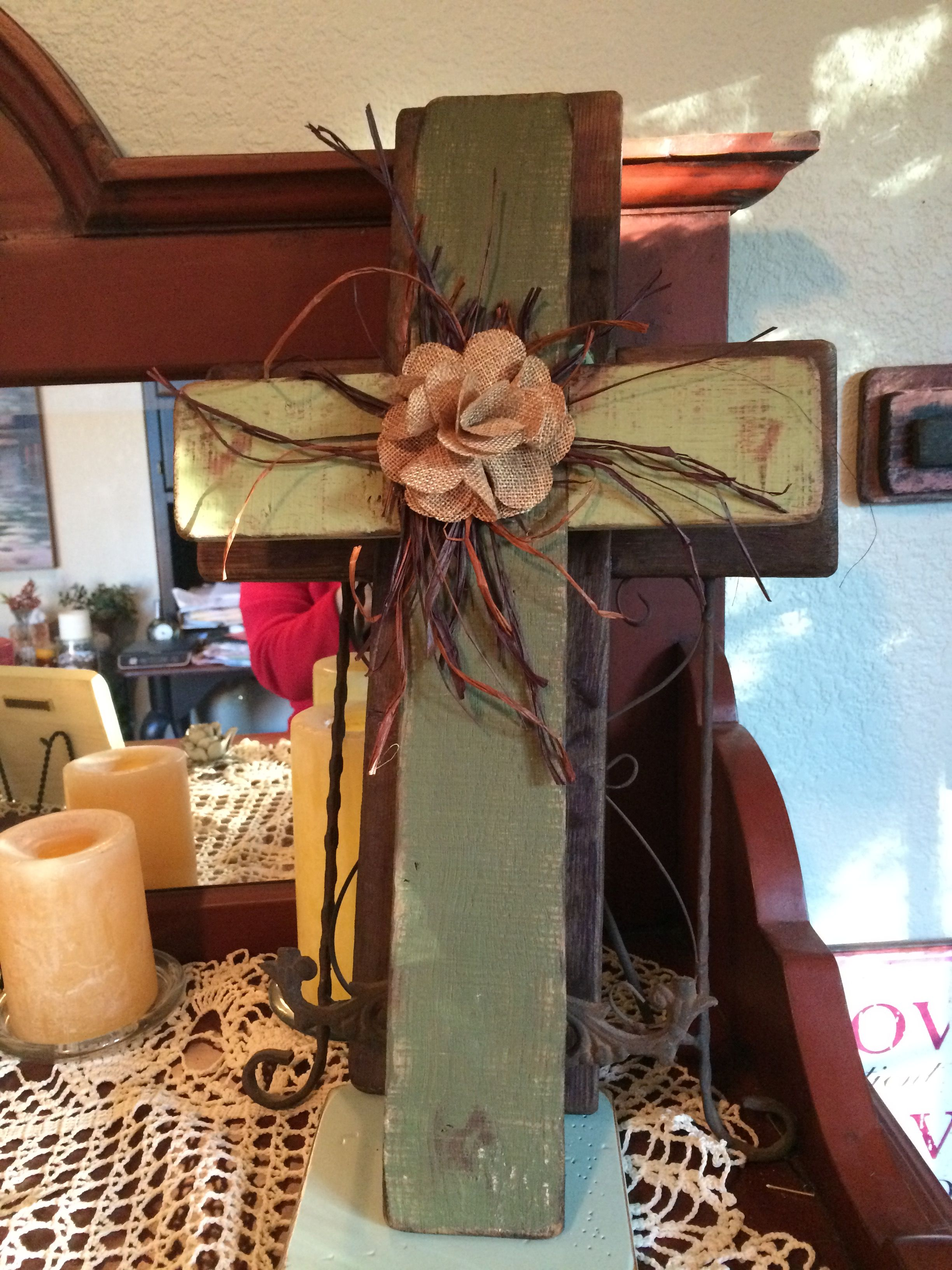 Reclaimed wood cross from a local winery. The wood is flat and aged the wine vat. This cross is beautifully crafted and lovingly sanded to bring out touches of the natural patina.