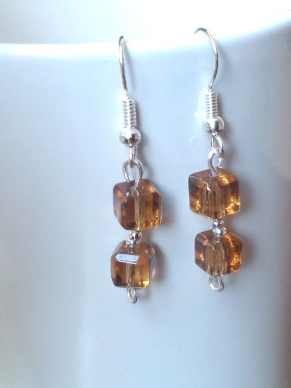 Brown Dangle Earrings by beausbitsandbobs on Etsy, £3.60