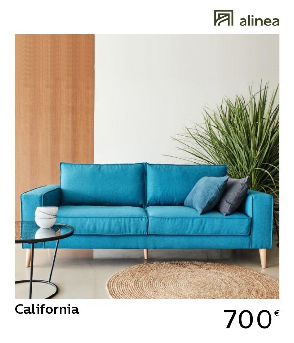 Alinea California Canape 3 Places Fixe En Tissu Bleu Canapes Tous Les Canapes Canapes Droits Alin Meuble Deco Canape 3 Places Tissu Mobilier De Salon