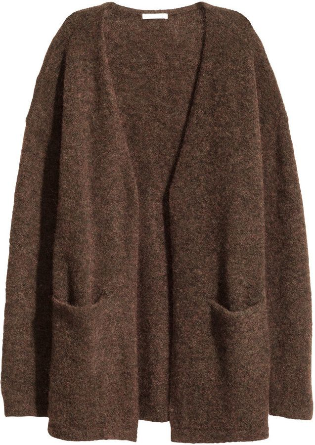 H&M - Mohair-blend Cardigan - Dark brown melange - Ladies | Fall ...