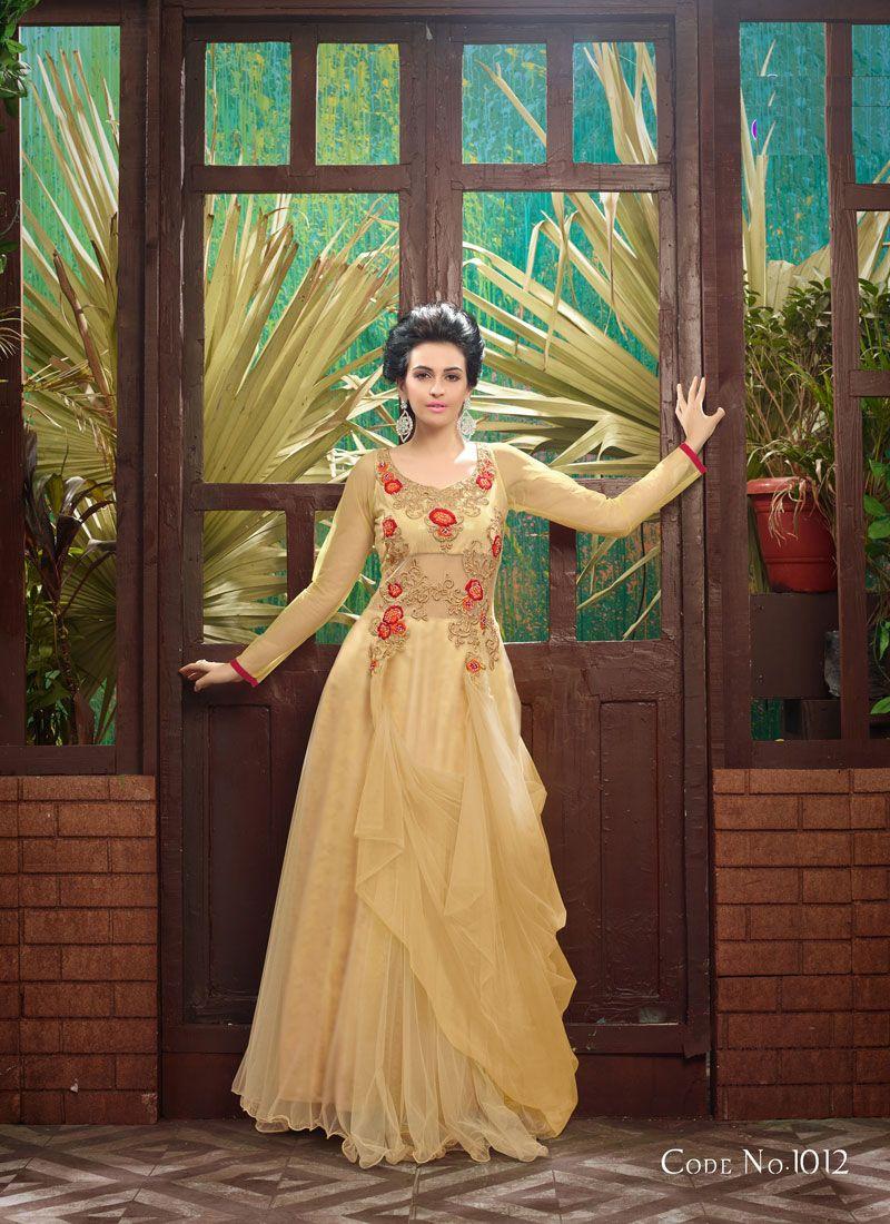 Cream Color Net Gown With Work   #partywear #dresses #craftshopsindia