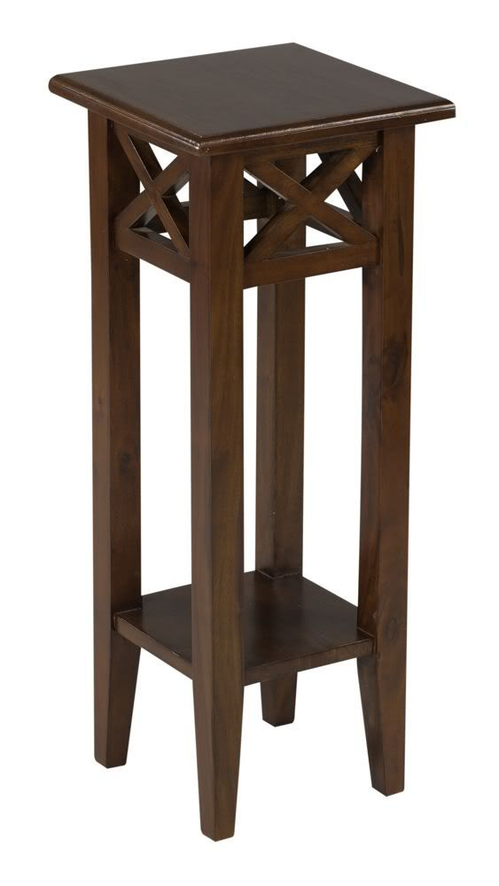 30 tall medium brown pedestal accent country style small for Small wooden side table