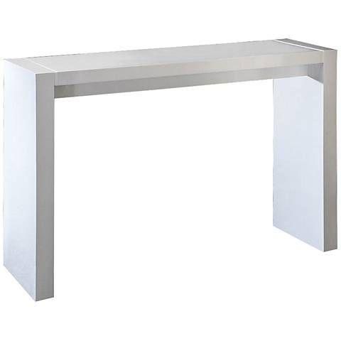 Velia 60 Wide High Gloss White Modern Bar Table 8x633 Lamps