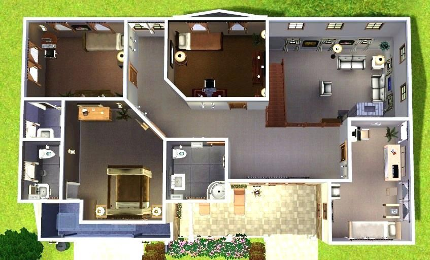 Image Result For Bloxburg Plans Small House Layout House Layouts Sims House Plans