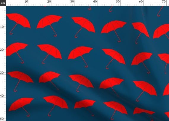 Red Umbrella Fabric - Red Umbrellas By Katebillingsley - Rain Weather Red Navy Blue Cotton Fabric By The Metre by Spoonflower