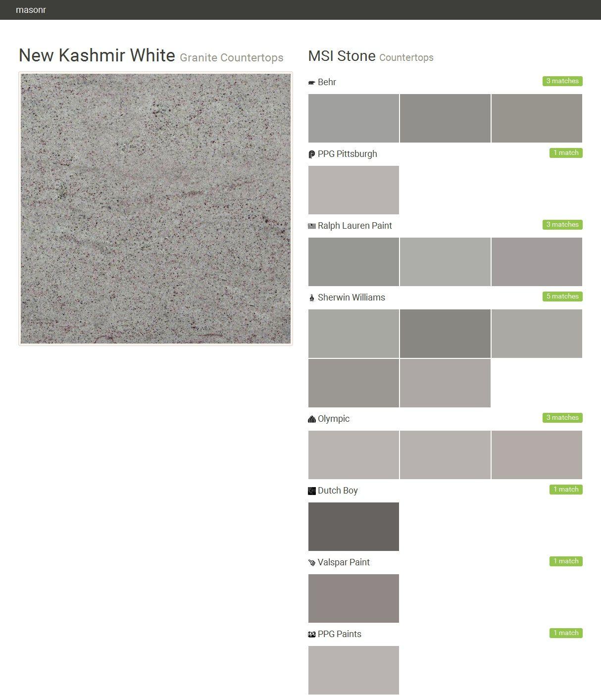 New Kashmir White. Granite Countertops. Countertops. MSI Stone. Behr. PPG  Pittsburgh