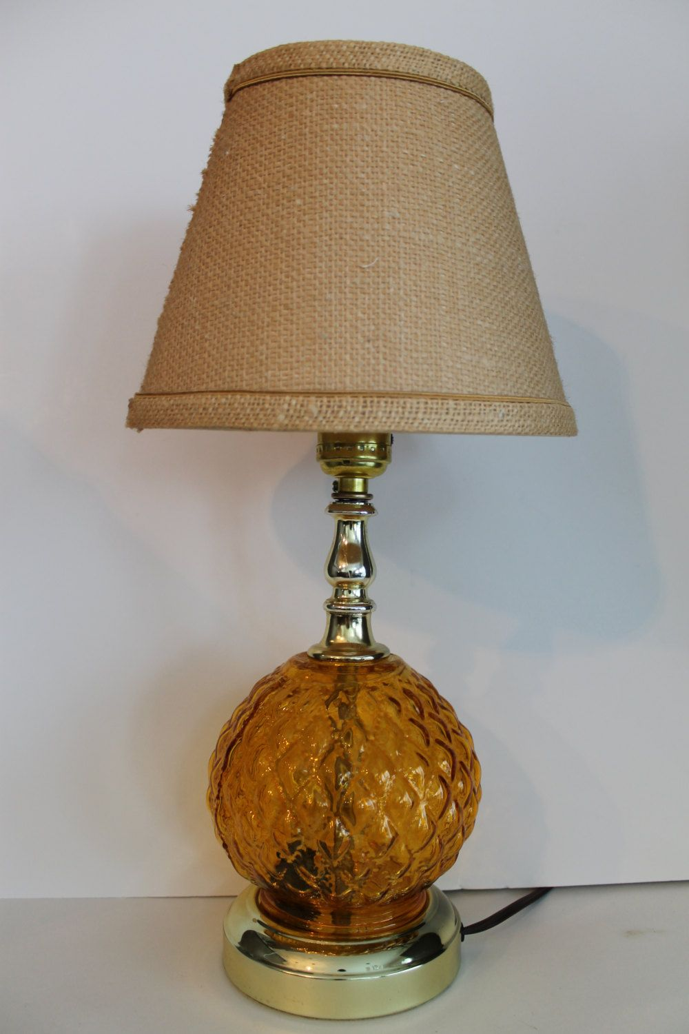 Genial Vintage Amber Glass Globe Quilted Pattern Carnival Glass Lamp By  FunkieFrocks On Etsy