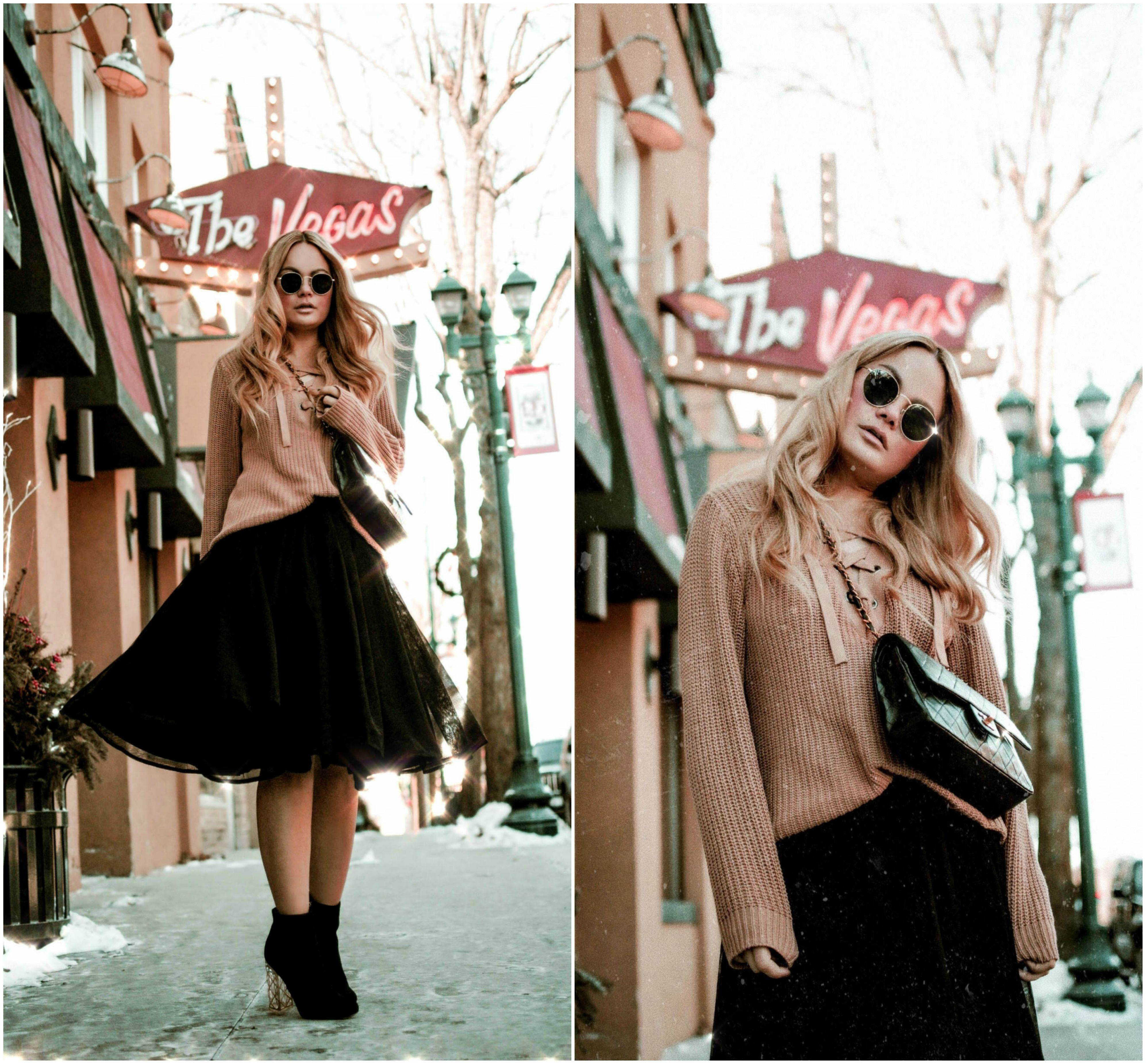 36cc177e2a72 Vanessa-Lambert-Blogger-What-Would-V-Wear -black-tulle-skirt-lace-up-sweater-Carrie-Bradshaw-moment