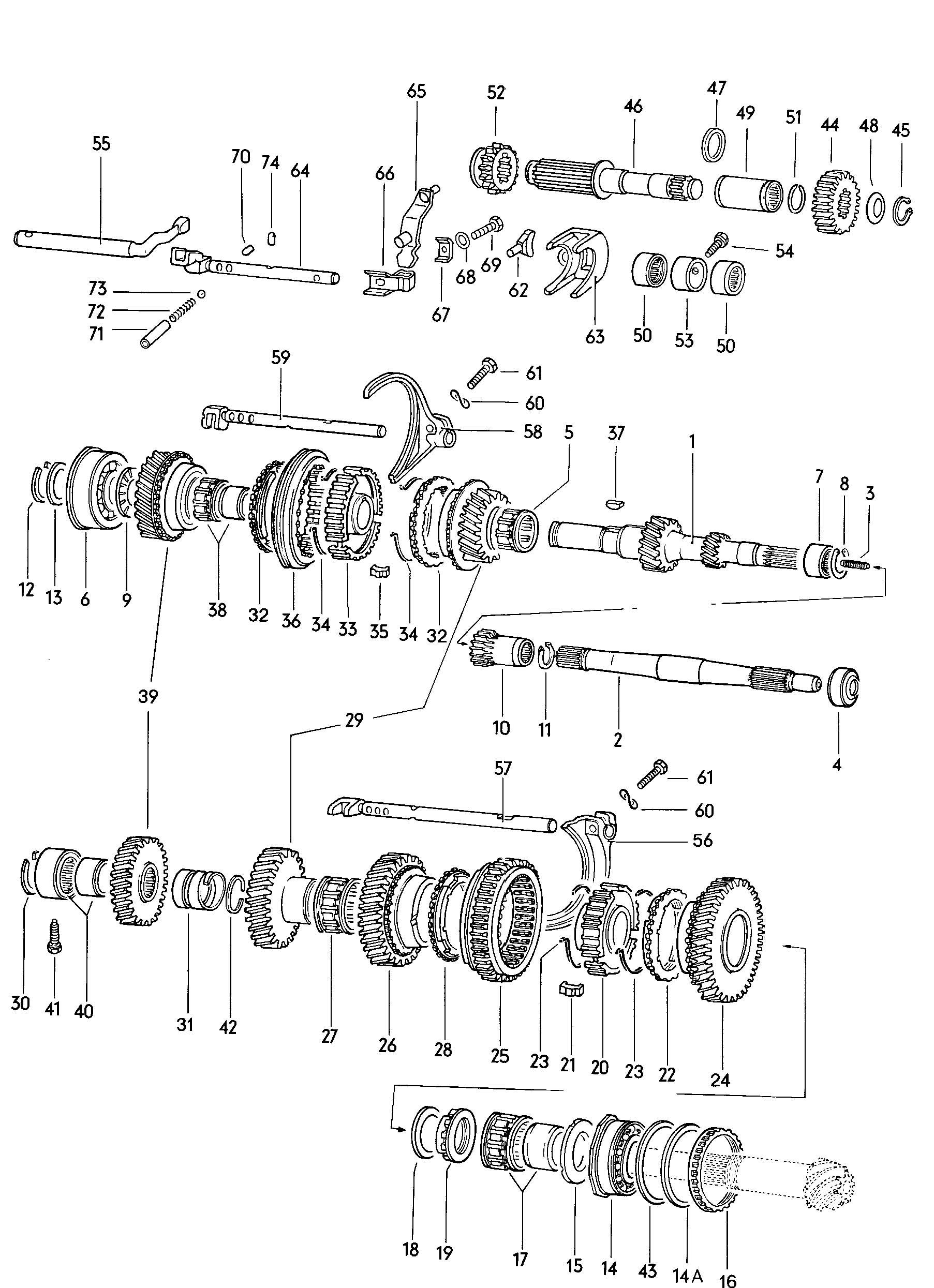 Gears And Shafts Manual Transmission Volkswagen Vw