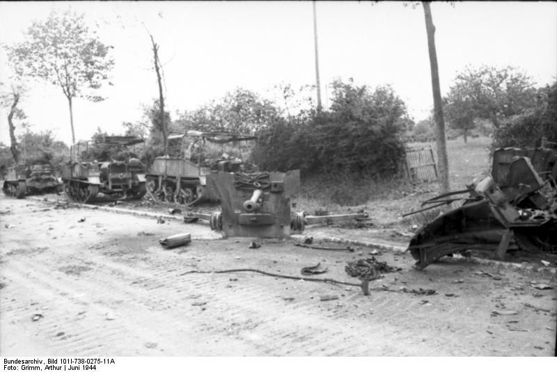 Vehicles of the A Company, 1st Rifle Brigade, 4th County of London Yeomanry, destroyed by Michael Wittmann at about 9:05am 13 June 1944