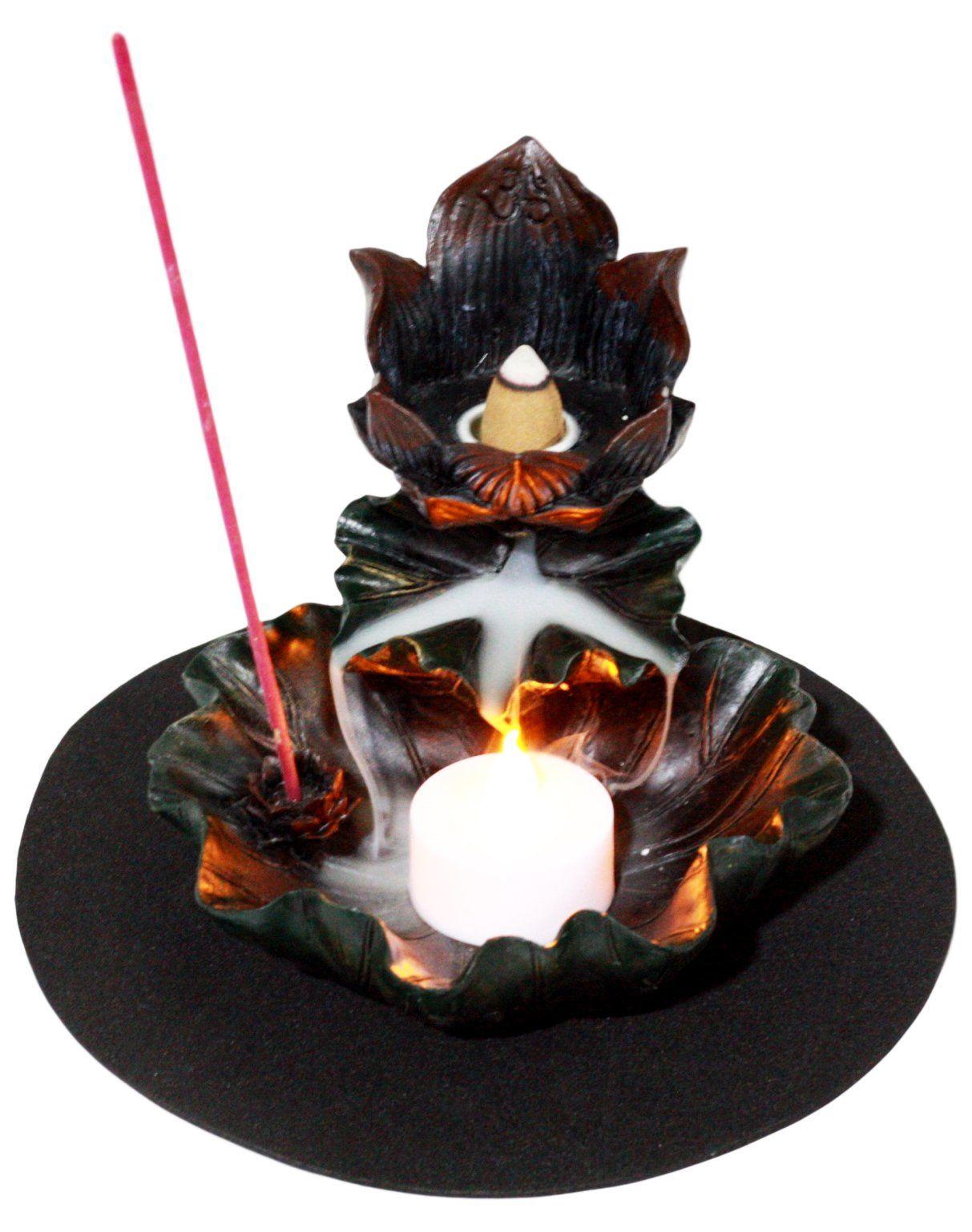 Feng shui zen lotus flower incense tower burner and candle holder