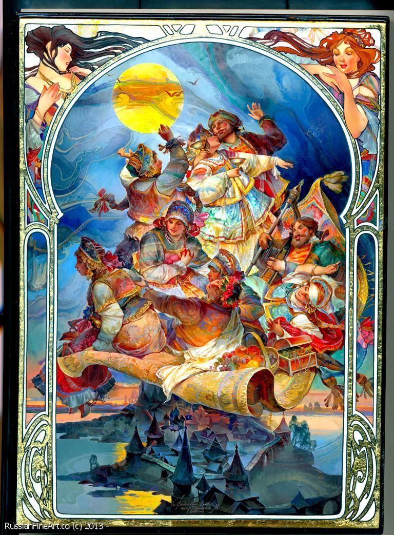"""Mikhail Sheluhin """"The Flying Carpet"""" - box, Fedoskino"""