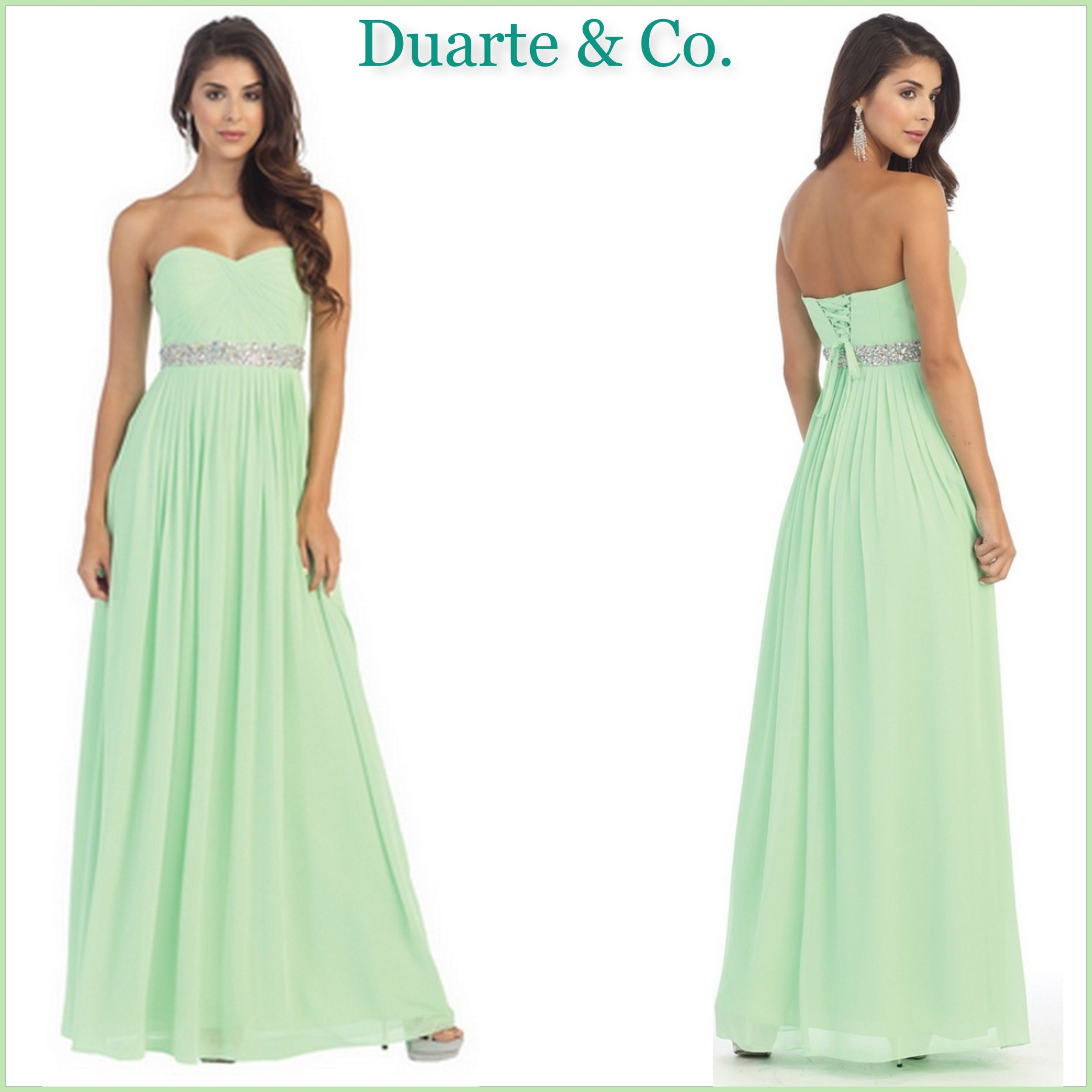 e852897c7f LC211692  112.00 Beautiful Strapless Gown comes with hand beaded  rhinestones around the waistline   pleated chiffon material lace up.