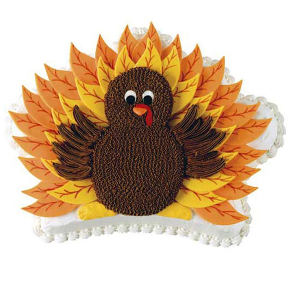 This Thanksgiving, present Tom Turkey in a new way?atop a Crown Pan cake. Use the largest Leaf Cut-Out to form fondant feathers, fashion the torso from cookies, and then watch guests gobble up your flavorful bird.