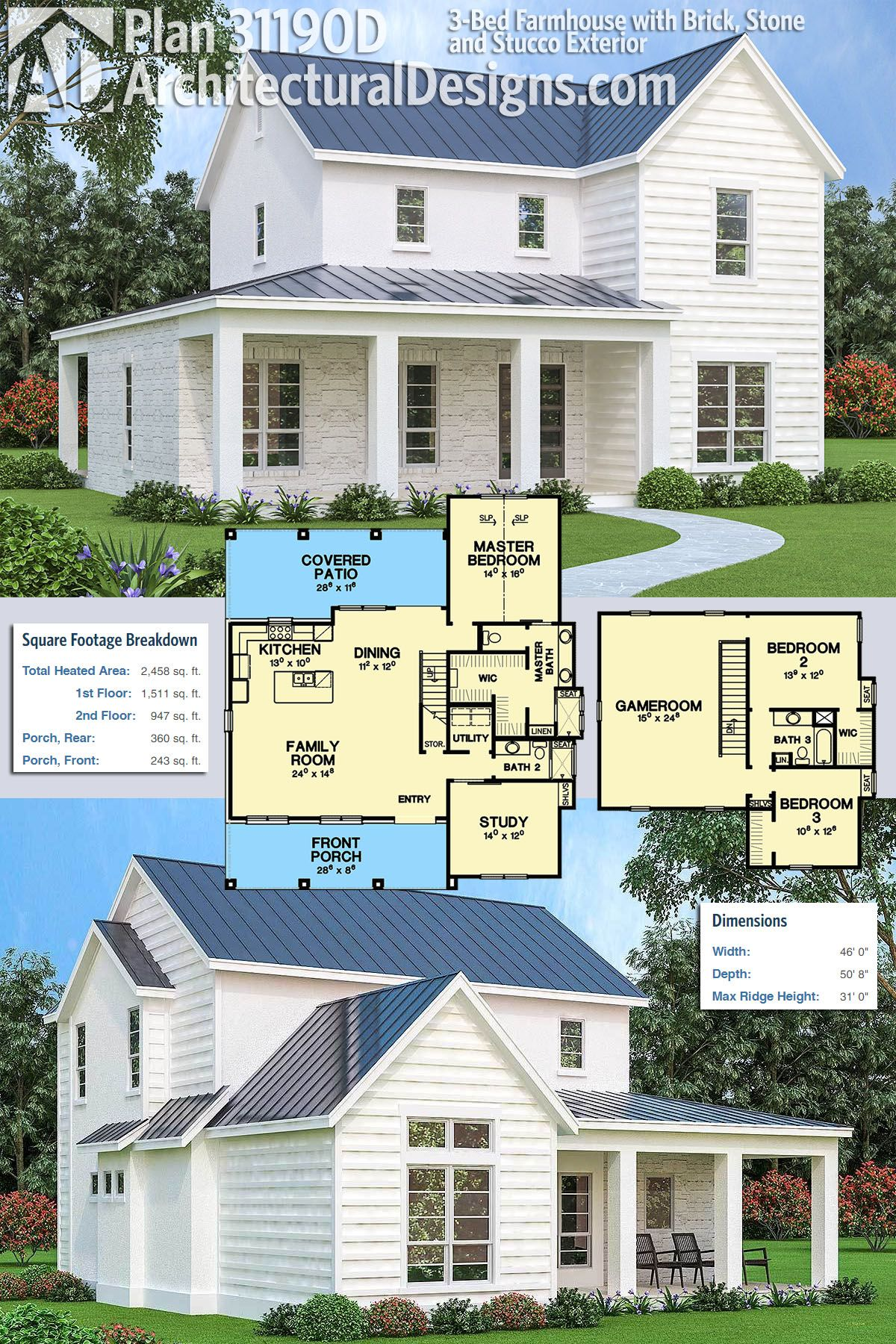 Plan 31190d 3 Bed Farmhouse With Brick Stone And Stucco Exterior Farmhouse Plans Dream House Plans Farmhouse Floor Plans