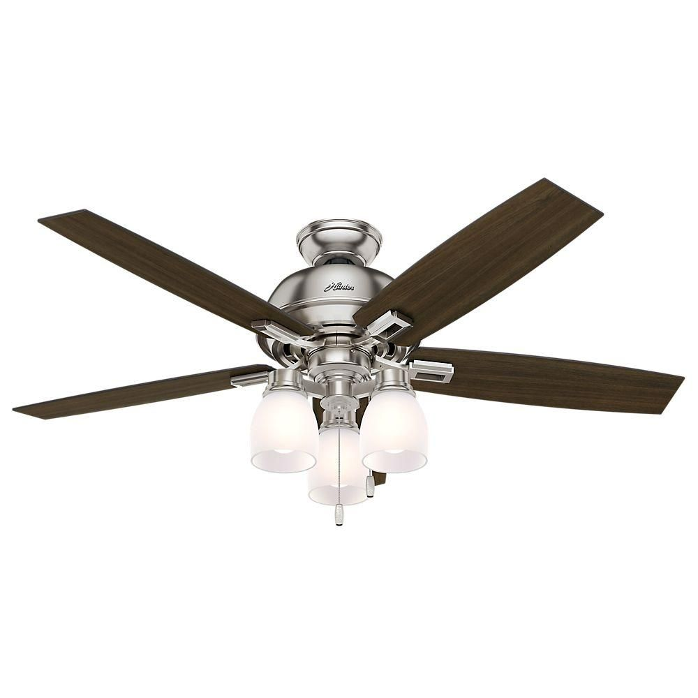 Hunter donegan 52 in led indoor brushed nickel ceiling fan with 3 led indoor brushed nickel ceiling fan with 3 light aloadofball Choice Image