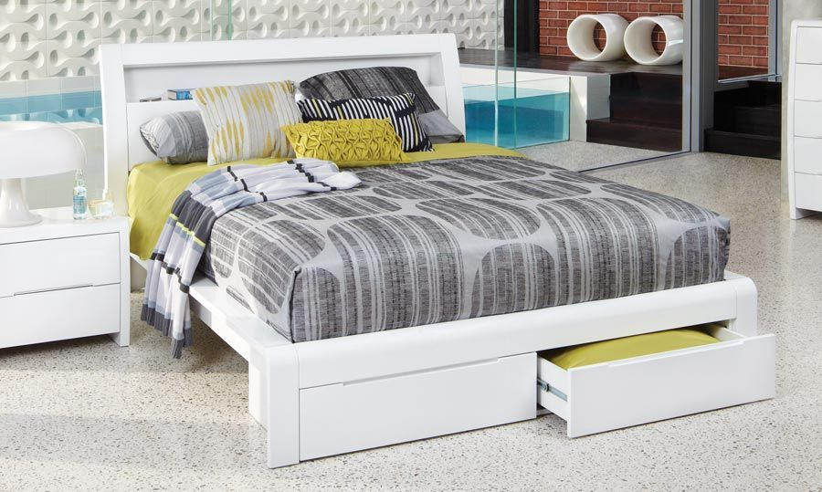 Benton White High Gloss Queen Size Bed White Bed Frame White