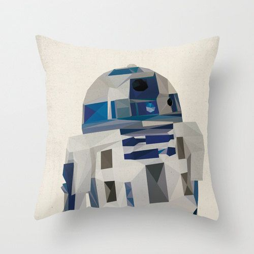 R2D2 Star Wars Pillow Cushion Cover Polygon Art Home Decor Vintage Style Science Fiction Sci Fi Character, $34.00