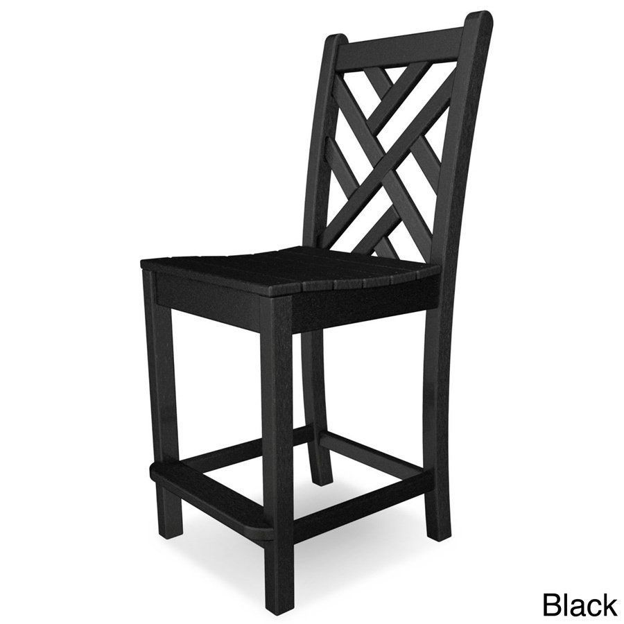 Polywood Chippendale Polyethylene Counter Side Chair (Black), Patio Furniture (Plastic)